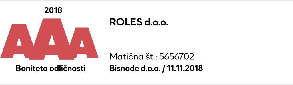 Odlična bonitetna ocena podjetja Roles d.o.o AAA