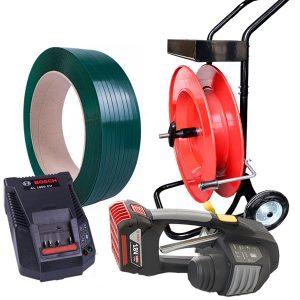 Komplet za baterijsko povezovanje | MB620 12-16mm – 2x bateriji in polnilec – PET trak 12mm ali 15,5mm – odvijalec PET/PP traku