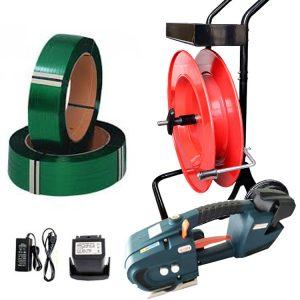 Komplet za baterijsko povezovanje | TES 12-16mm - 2x bateriji in polnilec - PET trak 12mm ali 15,5mm - odvijalec PET/PP traku